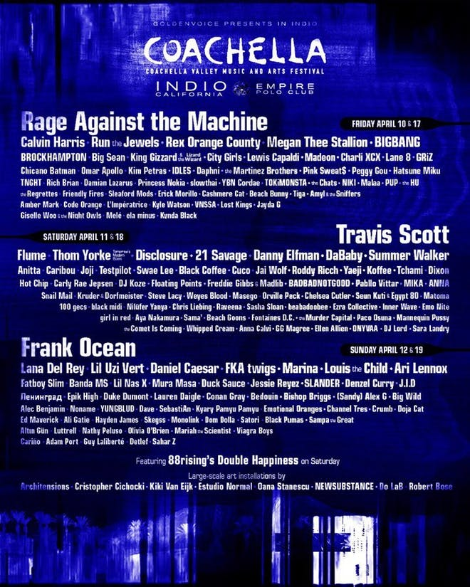 Rage Against the Machine encabezará Coachella 2020