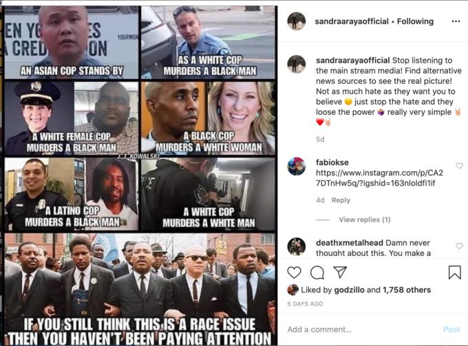 Esposa de Tom Araya recibe críticas por compartir memes racistas