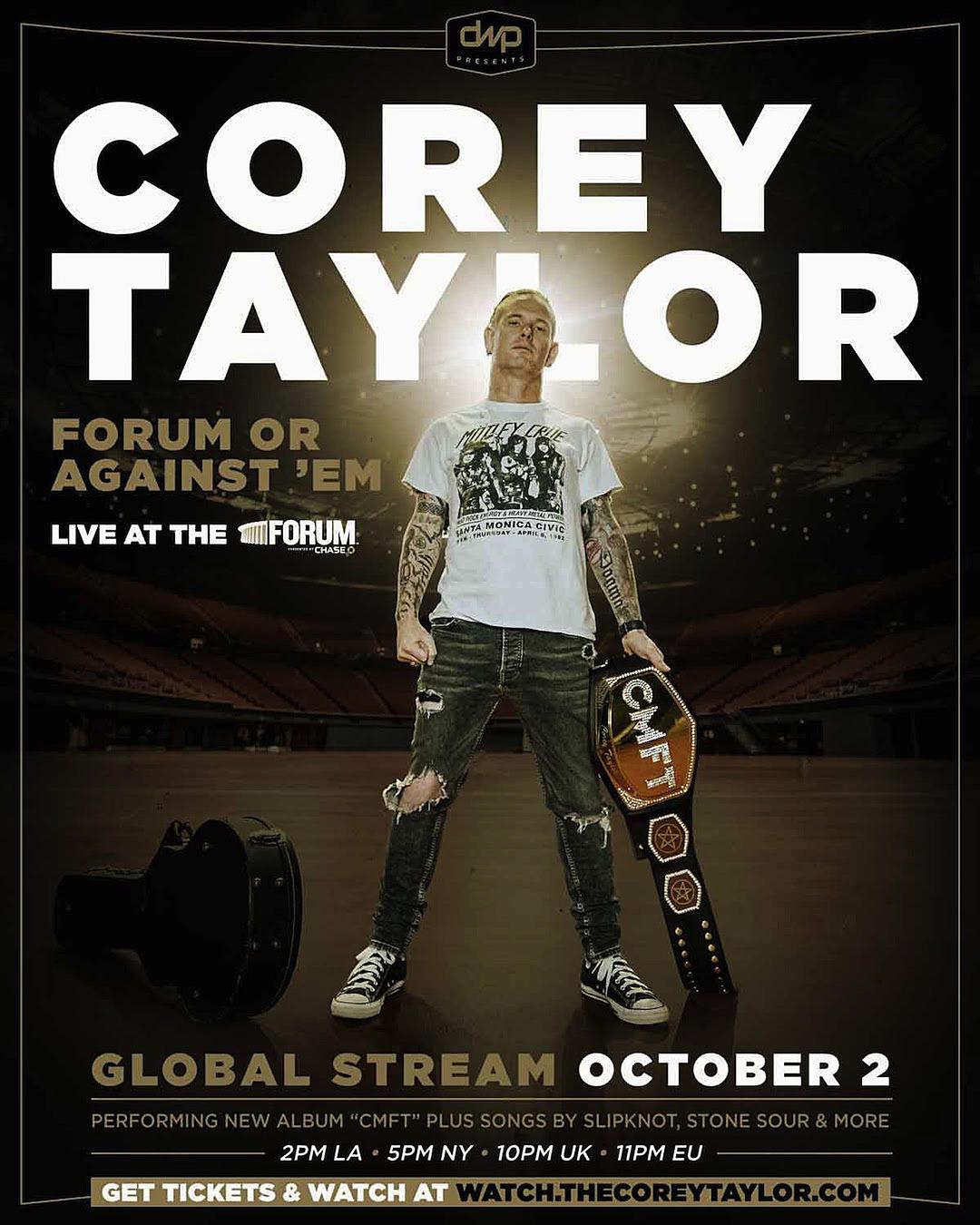 Corey Taylor programa un show en vivo desde el Forum de Los Angeles